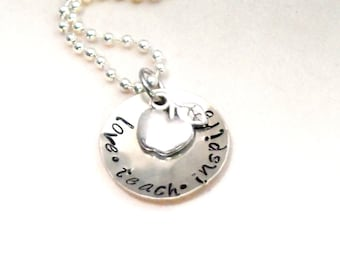 HAND STAMPED TEACHER gift - Love, Teach, Inspire, Easter teacher gift, graduation gift
