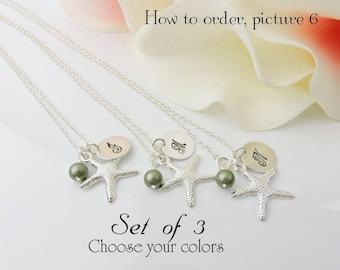 Set Of 3 Personalized Starfish Bridesmaid Necklaces Bridesmaid Gift Set Of 3 Starfish And Initial Necklace Beach Wedding