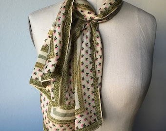 Vintage ANNE KLEIN Designer Scarf Silk Floral Gold Green Pink Long Narrow Scarf Signed Signature