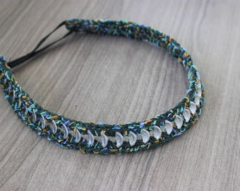 20%Headband for Girls , Green Headband , Subtle Headband , Crocheted Headband , Vegan Friendly Gift ,  Upcycled Necklace , Upcycled Headband