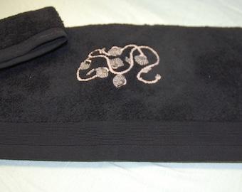 Black Terry TOWEL washcloth 50 / 100 cm