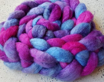 Hand dyed blue faced leicester and silk combed