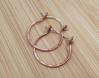 Hammered Copper Sterling Silver Hoop Earrings Rustic Oxidized Copper Mixed Metal Earrings Medium Hoops 1 Inch Hinged Hoop Rustic Earrings