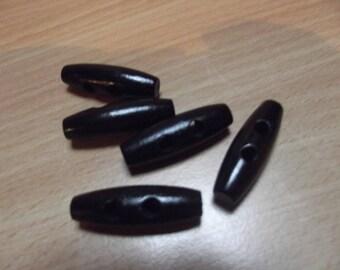 5 wood logs buttons 2 holes, 34 mm long, black wood color