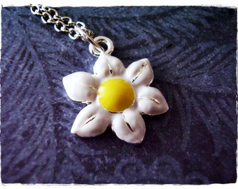 White Daisy Necklace - White Enameled Silver Daisy Charm on a Delicate Silver Plated Cable Chain or Charm Only