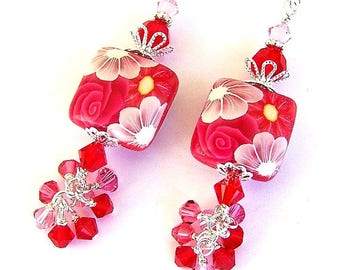 Red and pink flower earrings, gift for her, polymer clay red floral, red cluster earrings, Swarovski crystal raspberry red earrings