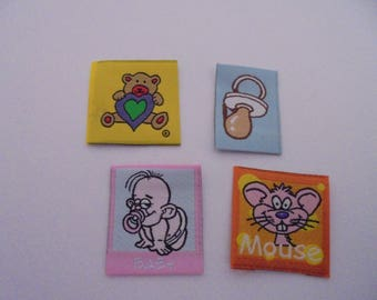 Set of 4 appliques fabric iron-on or sew