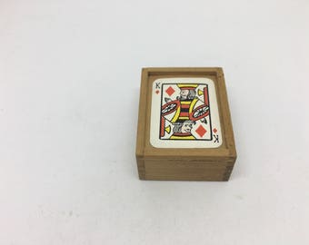 Mini card game in wooden box