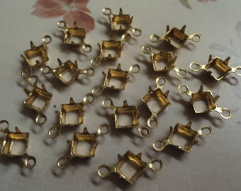 5mm brass square open back prong connector settings with 2 rings 18 pcs per lot l