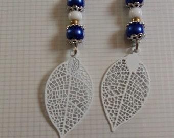 Blue leaf earrings white
