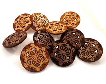 30 pack of GD Inspired Flower of Life Hat Pins - Sustainably Harvested Oak and Walnut