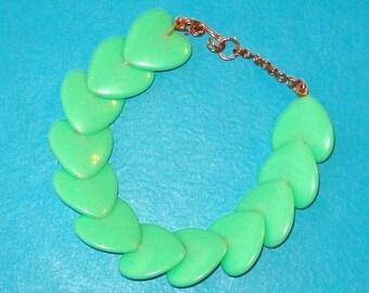 LAST ONE! Retro Mint Green Heart Vintage Beads Copper Wired Beaded Bracelet