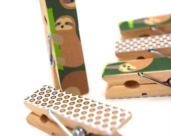 Sloth Clothes pins, Mini Clothes pins, Small Art Projects, Kids, Organize,  Children,Mini Clips, Wood pins, Decorative