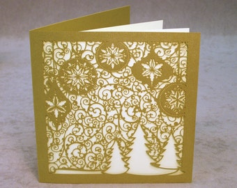 Laser Cut Christmas Card Set    Unique Holiday Card Set of 6 with Laser Cut Intricate Design on Beautiful Card: Ornaments and Snow