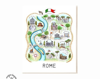 Rome City Map Art Print - Watercolor