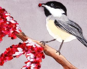 Winter Bird Watercolor Painting, Wall Art, PRINTABLE ART
