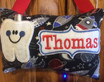 Space Rocket personalized tooth fairy pillow