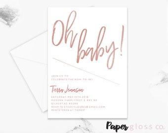 Rose Gold Oh Baby Shower Invitation, Gender Neutral, Rose Gold Baby Shower Invitation Template, Printable Invitation, Baby Shower Invite