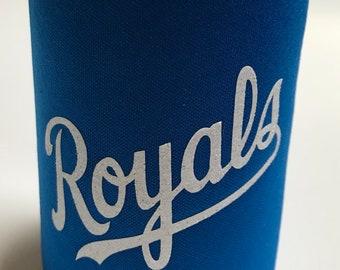 Royal Blue  KOOZIE®  White Glitter Lettering, Salvy, Royals, KC, drink holder, coolie, drink sleeve, party