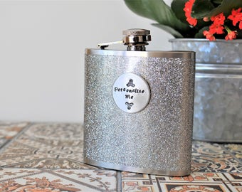 SILVER GLITTER Personalised Hip Flask