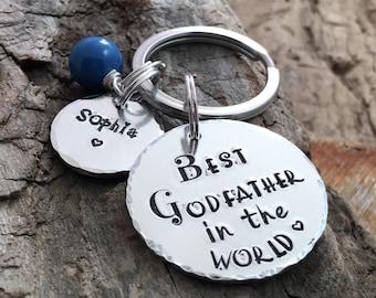 Godfather Keyring Keychain, Personalized Godfather Gift, Best Godfather Keyring