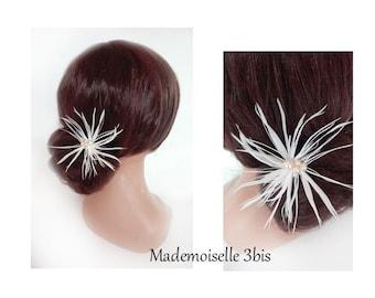Spike feather bridal hair, Federschmuck wedding, wedding, white bun hair pin