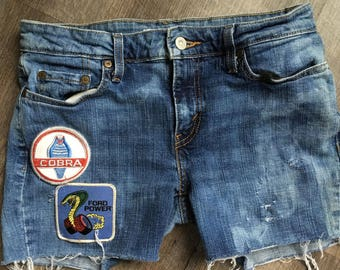 Upcycled Levis, Distressed Jean Shorts with VINTAGE Ford Cobra PATCHES!