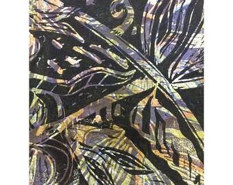 Wood Block Print - Botanical Nine OOAK by Marti Schmidt 12x15 - Fine Art, Floral, Coastal, Tropical