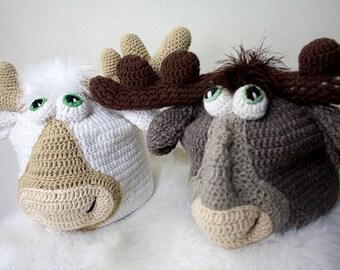 Crochet Moose Hat - baby moose hat moose baby hat moose photo prop, animal hat kids moose hat child moose hat newborn adult moose hat