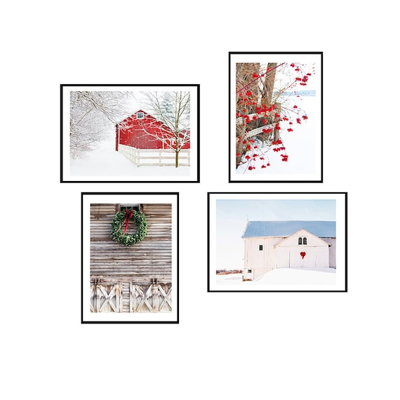 Set of Four Winter Rural Images, Red barns, White Barns, Rustic Prints, Rural Scenes, Country Barn Prints