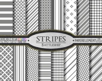 Stripe Scrapbook Paper Backgrounds in Battleship Gray Grey - Digital Printable Pack - Instant Download