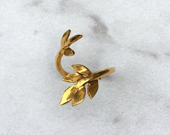 Leaf Midi Ring, Yellow Gold, Adjustable Leaf Ring, 24k Gold Leaf Ring, Sterling Silver Leaf Ring, Leaves Ring, Unique Handmade Gift for Her