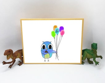 Owl with balloons and cupcake adorable Birthday Card