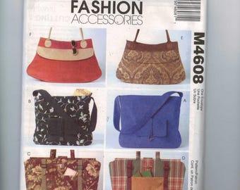 Craft Sewing Pattern McCalls M4608 4608 Purse Handbag Tote Large Bag Insert Liner UNCUT