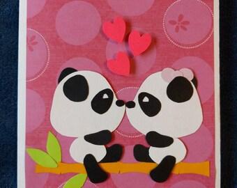 Cute Panda Love Card - Pink