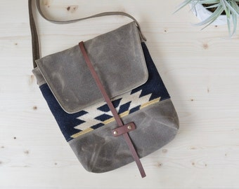 Waxed Canvas Crossbody Bag Made with Rancho Arroyo Pendleton® Fabric / Wool Purse / Waxed Canvas Purse