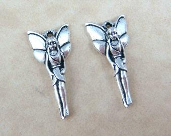 TierraCast - Woodland Fairy Charm - Antiqued Silver Fairy Charm (TC-2229-12) - 25.5mmx11.75mm - Qty. 2