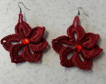 deep red flower earrings