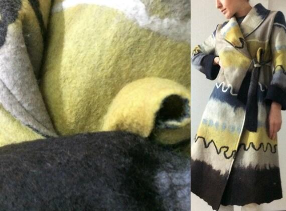Clothing Eco Wool Black Women Coat coat Designer Hand Felted fashion Green coat Blue Jacket art felted Nuno made Wearable qfwZYpq