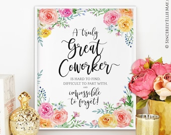 Goodbye gift etsy coworker friend leaving goodbye gift office wall art decor printable with quote a truly great coworker is hard to find 40083 m4hsunfo
