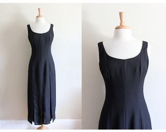 Vintage Fringe Bottom Black Crepe Midi Dress