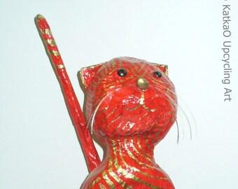 Chat de papier mâché «Rossa»