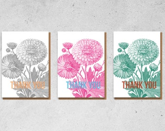 Neon Flowers Thank You Greetings Card