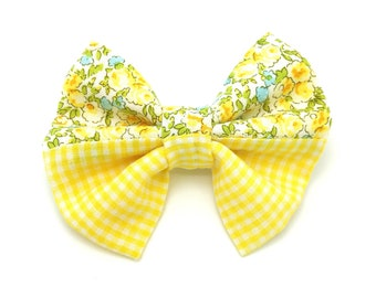 Bright Yellow Floral Hair Bow, Bright Yellow Floral Headband