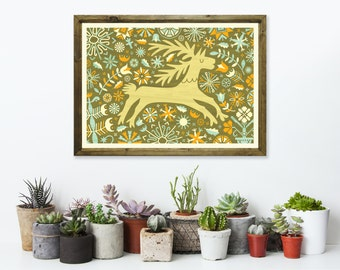 Floral Deer Art Print A3 - Housewarming Gift, Christmas Gift, Green Wall Art, Nursery Decor, Home Decor Idea - Inspired by Lithuania