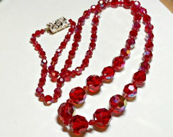 Vintage red faceted glass bead necklace, 38 inches, for bead harvest, red glass beads with aurora borealis coating, 1980s