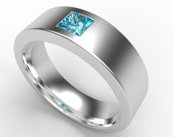 Mens Wedding Band 14K Black Gold Princess Aquamarine Unique