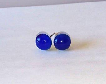 cyan fuse glass blue Stud Earrings