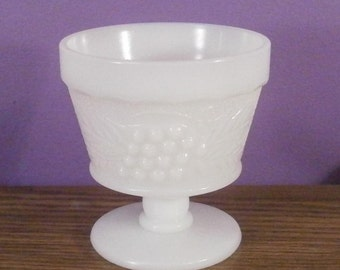 Vintage Anchor Hocking Milk Glass Grapevine Pattern Sherbert Compote
