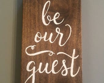 Be Our Guest wood panel painting